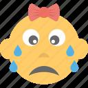 baby emoji, child, crying, emoticon, kid icon