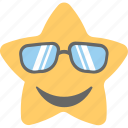 cool emoji, emoticon, happy, smiley, star emoji icon