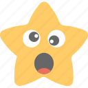 emoticon, joyful, smiley, star emoji, surprised icon