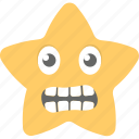 emoticon, expressions, grimacing face, irritated, star emoji icon