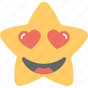 emoticon, happy, hearts, in love, star emoji icon