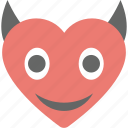 devil heart, devil horns, emoji, emoticon, evil heart icon