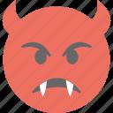 angry face, devil grinning, emoji, evil grin, evil smiley icon