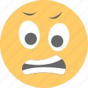 emoji, emoticon, exhausted, grimacing face, irritated icon
