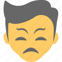 angry boy, annoyed, confounded, emoticon, scrunched eyes icon