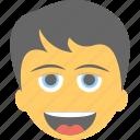 boy emoji, boy laughing, emoticon, joyful, smiling icon