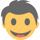 boy, boy emoji, emoticon, happy, surprised face icon
