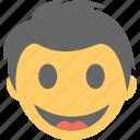boy, boy emoji, emoticon, happy, surprised face