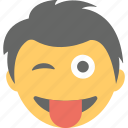boy emoji, emoticon, jolly, naughty, tongue out icon