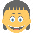emoticon, girl emoji, girl laughing, joyful, smiling icon