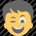 boy emoji, happiness, smiley, smirking, winking face icon