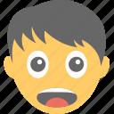 boy, boy emoji, emoticon, happy, surprised face icon