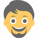 avatar, beard, bearded man, laughing, man emoji icon