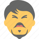 angry man, bearded man, confounded, emoji, emoticon icon