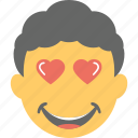 boy emoji, emoticon, happy, hearts, in love icon