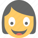 avatar, emoticon, female, girl emoji, girl smiling icon