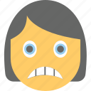 emoticon, grimacing face, emoji, girl face, irritated icon