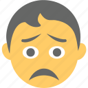 boy emoji, disappointed, emoticon, sad face, unhappy icon