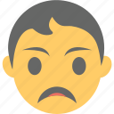 angry, boy emoji, depressed, emoticon, sad face icon
