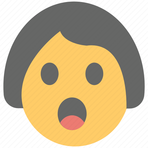 gasping face, girl emoji, open mouth, shocked, surprised icon