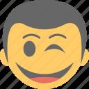 boy emoji, cheeky, smiley, smirking, winking face icon