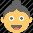 avatar, emoticon, female, smiling, woman emoji icon