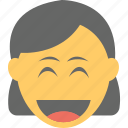 emoticon, girl emoji, joyful, laughing, smiling icon