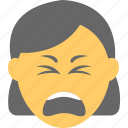 exhausted, distraught face, weary face, woman emoji, irritated icon
