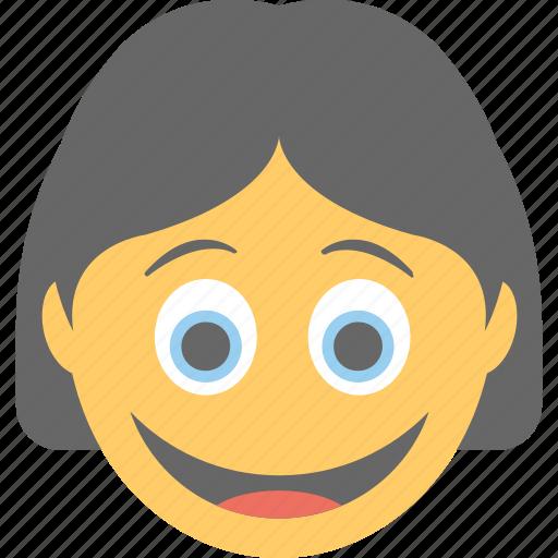emoticon, joyful, laughing, smiling, woman emoji icon