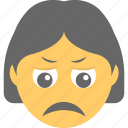 emoticon, girl emoji, sad face, sadness, unhappy icon