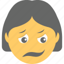 distraught face, exhausted, girl emoji, smiley, weary face icon
