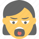 angry, annoyed, emoji, screaming, shouting icon