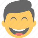 boy emoji, emoticon, joyful, laughing, smiling icon