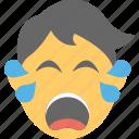 crying emoji, emoticon, sad face, unhappy, weeping icon