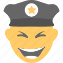 emoji, emoticon, grinning, laughing, police officer icon