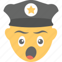 emoji, policeman, sleepy, tired, yawn face icon