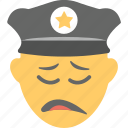 emoji, emoticon, policeman, sad face, unhappy icon