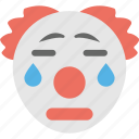 clown crying, clown emoji, emoji, jester, sad icon