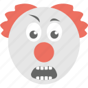 clown emoji, emoji, emoticon, grimacing clown, smiley icon