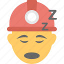 builder, construction worker, emoji, napping, worker sleeping icon
