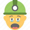 builder, construction worker, emoji, smiley, worker crying icon