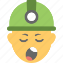 construction worker, emoji, smiley, tired, yawn face icon