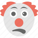 clown emoji, emoji, emoticon, exhausted, tired face icon