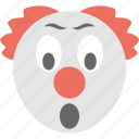 clown emoji, gasping face, shocked, smiley, surprised icon