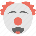clown emoji, emoticon, joyful, laughing, smiling icon