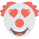 adorable, clown emoji, hearts, in love, jester icon