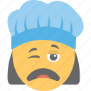 emoji, exhausted, smiley, weary face, woman cook icon