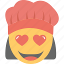 adorable, emoji, happy, in love, woman cook icon