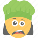 depressed, doh face, emoji, unamused face, woman cook icon