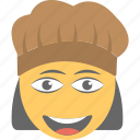 emoji, emoticon, laughing, smiley, woman cook icon